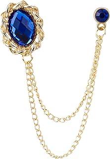 Knighthood للرجال حجر أزرق ملكي لامع مع سلسلة ذهبية شرابة طوق بروش دبوس