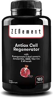 Antioxidante Regenerador Celular, Anti-edad, 120 Cápsulas, con Granada, Açaí, Astaxantina, MSM, Vitaminas C, E y Minerales (Zinc, Selenio y Cobre) | 100% Natural, Vegano, sin aditivos | de Zenement