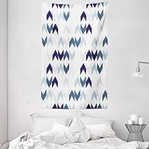 ABAKUHAUS Étnico Tapiz de Pared y Cubrecama Suave, Ikat del Zigzag De Chevron, Fácil de Lavar No Destiñe, 140 x 230 cm, Púrpura Azul De La Pizarra Blanca