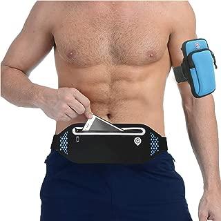Men Women Running Belt, Lightweight Fanny Pack, Zippered Adjustable Waistband Compatible for iPhone Xs/Xs Max Samsung S10 with Running Armbands