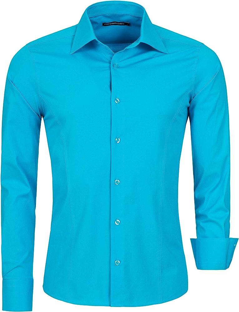 Redbridge, camicia per uomo, 97% cotone, 3% elastan, turchese R-2111E