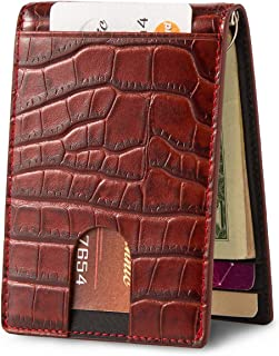 Slim Money Clip Wallet, Bifold Leather Business Card Holder With ID Window