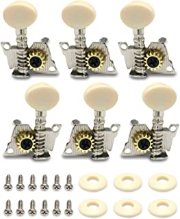 Metallor Guitar Machine Heads Tuning Pegs Tuners for Classical Acoustic Folk Guitar Individual Double Hole Chrome 3L 3R.