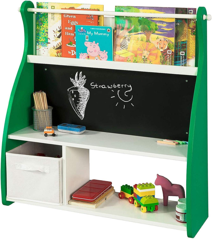 SoBuy KMB09-GR Design Kinder-Bücherregal mit Tafel Büchergestell mit 3 Ablagen und Spielzeugkiste Kinderregal Aufbewahrungsregal Wei Grün BHT ca.  86x90x25cm
