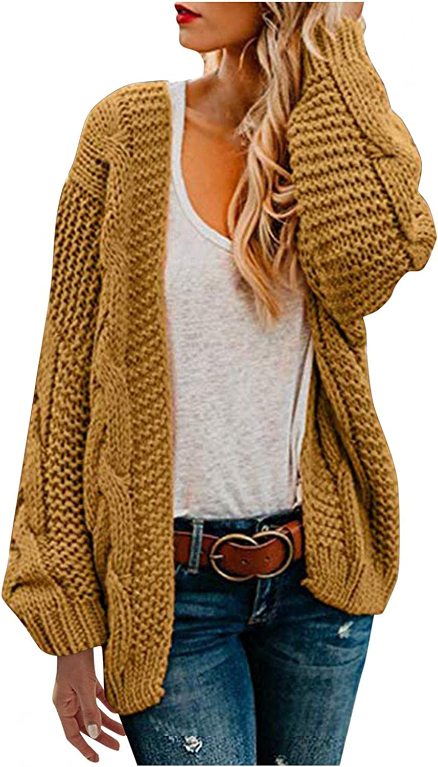 Kcocoo Womens Long Sleeve Cable Knit Long Cardigan Open Front Sweater Coat Casual Color Clock Warm Winter Outwear Blouse Tops