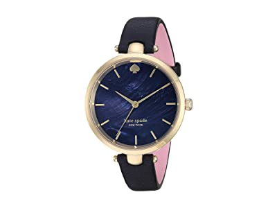 Kate Spade New York Holland Leather Watch KSW1584 (Black) Watches