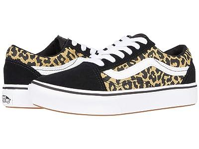 Vans Kids ComfyCush Old Skool (Little Kid) ((Leopard) Black/True White) Girl