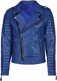 New Fashion Style Mens Leather Jackets Motorcycle Bomber Biker Blue Real Leather Jacket Men