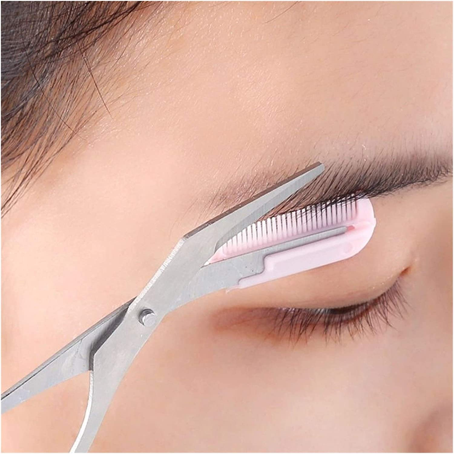 Makeup Pink Eyebrow Trimmer Scissors Shea Fashionable with Comb Removal Hair Sale