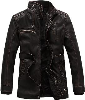 S&S Men Casual Stand Collar Zip-Up Fleece Lined Belt PU Leather Jacket Overcoat