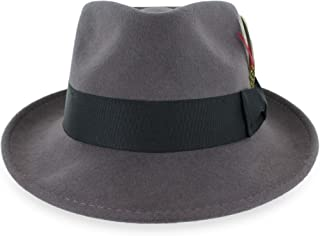 8f80153c79392 Belfry Gangster 100% Wool Stain Resistant Crushable Dress Fedora in Black  Grey Navy Brown Pecan