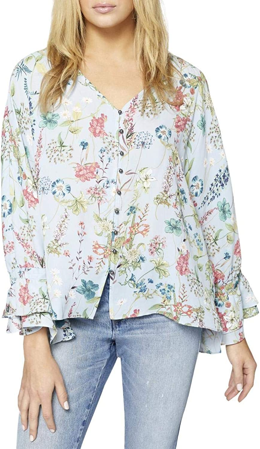 Sanctuary Womens Botanica Floral Print Bell Sleeves Blouse