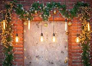 Aperturee 7x5ft Christmas Glitter Brick Wall Backdrop Winter Living Room Fireplace Lights Pine Leaves Wreath Photography Background Family Party Decoration Cake Table Banner Photo Studio Booth Props