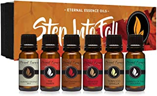 Step Into Fall Gift Set of 6 Premium Fragrance Oils - Almond Coconut Milk, Fire Amber, Sexy Cinnamon Clove, Reindeer Retre...