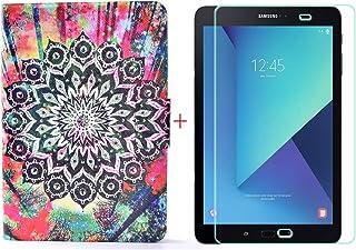 YZKJ PU skal HD pansarglas skyddsfilm för Samsung Galaxy Tab S3 SM-T820 T825 (9,7 tum), skyddsfodral plånbok stativ fack f...
