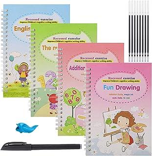 4PCS English Magic Practice Copybook,Reusable Calligraphy Copybook,Magic Calligraphy That Can Be Reused Handwriting Copybo...