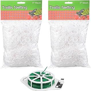 2 Pack Trellis Netting Garden Plant Net 5 x 30ft with Binding Rope Heavy-Duty White Garden Net,Flexible String Vines Netti...