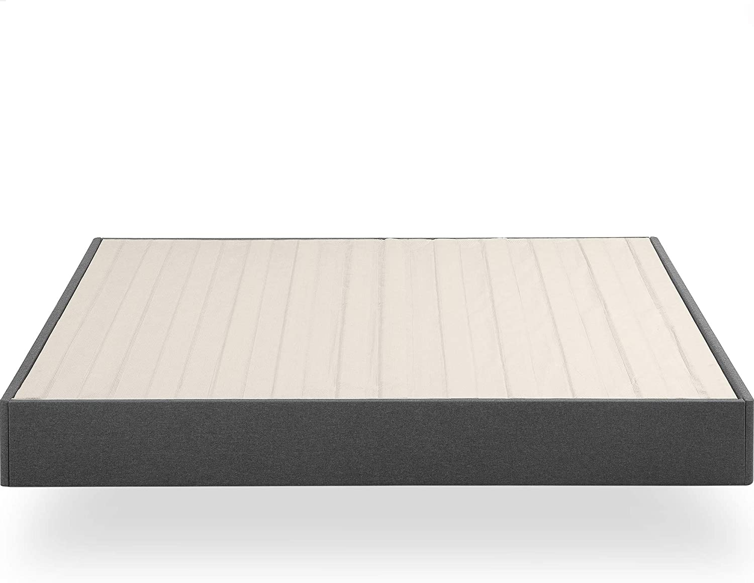 ZINUS Upholstered Metal Box Spring with Wood Slats / 9 Inch Mattress Foundation / Easy Assembly / Fabric Paneled Design, Queen: Furniture & Decor