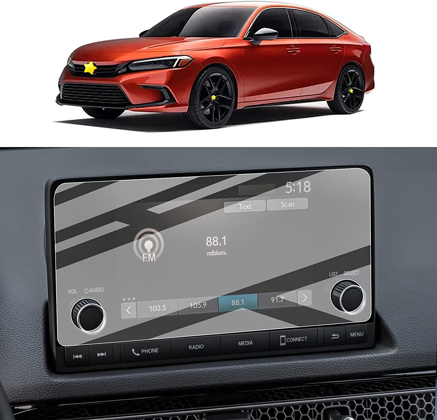 Plastic Screen Protector for 2022 Civic 11th Generation Navigation Display High Clarity Anti-Scratch Touch PET Plastic Crystal Clear Protective Film (7In)