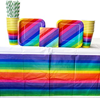 Rainbow Party Supply Pack for 16 Guests: Straws, Dessert Plates, Beverage Napkins, Cups, and Tablecover (Bundle for 16)