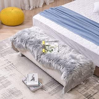 LEEVAN Sheepskin Rug Faux Fur Rug Super Soft Fluffy Chair Cover Seat Shaggy Single Pelt Floor Mat Carpet Accent Home Decor(Grey,2' x 6')