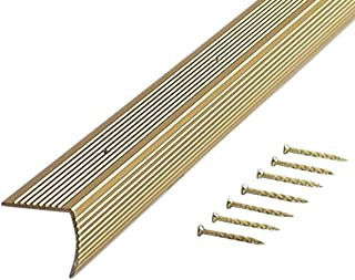 M-D Building Products 79020 Fluted 1-1/8-Inch by 1-1/8-Inch by 36-Inch Stair Edging, Satin Brass