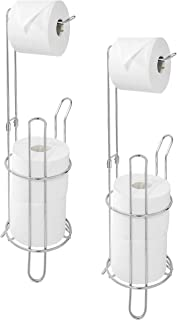 Paradis Toilet Paper Holder Stand with Reserve Toilet Paper Storage & Toilet Paper Dispenser. Free Standing Toilet Paper Holder, Bathroom Toilet Roll Holder for Toilet Tissue Chrome Finish (Pack of 2)
