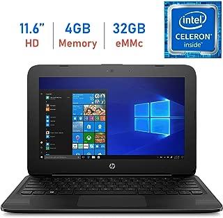 HP Stream Laptop, 11.6-inch HD Anti-Glare WLED-Backlit Display, Intel Celeron N4000 1.1GHz, 4GB DDR4 RAM, 32GB eMMC, Bluetooth, WiFi, HDMI, Windows 10 (Renewed)