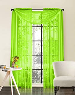 HLC.ME Lime Green Sheer Voile Window Treatment Rod Pocket Curtain Panels for Bedroom and Living Room (54 x 84 inches Long, Set of 2)