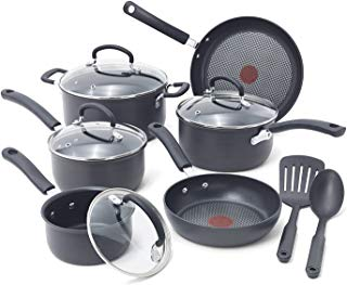 T-fal E765SC Ultimate Hard Anodized Titanium Thermo-Spot 12-Piece, Gray (Renewed)
