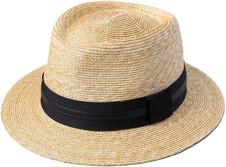 e0fc852c DYFAR Men Women Sun hat Handmade Straw Straw Straw Cap, Summer Beach Spring Summer  Sun Hat Straw Hat Plain Men Hat, Grass Yellow 9c391d