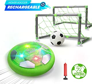 DEERC Kids Game Toys Hover Soccer Ball Set Rechargeable Air Soccer with 2 Goals, Ball Toy with LED Light for Indoor Games, Gift for Boys Girls Toddlers, an Extra Inflatable Ball (No AA Battery Needed)