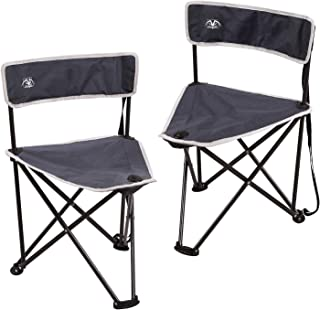 REDCAMP 2-Pack Tripod Chairs Folding, Lightweight Portable Tripod Seat Stool with Back, Small Camping Chairs for Hunting Outdoor Backpacking