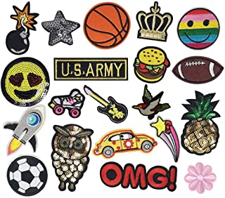 Libiline Random 20pcs Kid Embroidered Patch Sew On/Iron On Patch Applique Clothes Dress Plant Hat Jeans Sewing Flowers Applique DIY Accessory (Assorted for Boys)