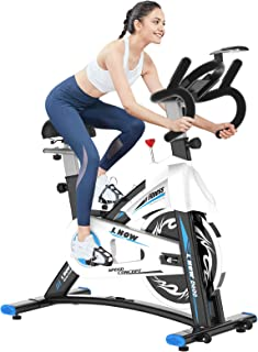 pooboo Indoor Cycling Bike Stationary - Exercise Bike with Comfortable Seat Cushion, iPad Holder & LCD Monitor - Belt Driv...