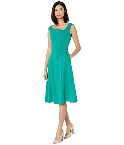 Donna Morgan Stretch Crepe Sleeveless Asymmetric Neckline Fit and Flare Dress (Evergreen) Women