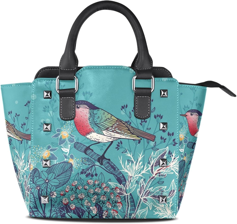 Women's Top Handle Satchel Handbag Little Bird Wild Herbs Ladies PU Leather Shoulder Bag Crossbody Bag