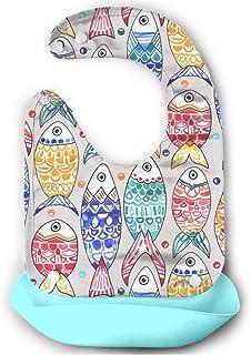 魚の鱗の印刷 ベビー 防水 シリコン ソフトスタイ 食事用エプロン 立体ポケット付き 軽量 首回り調整可 よだれかけ ビブ 6ヵ月~4歳 男女通用