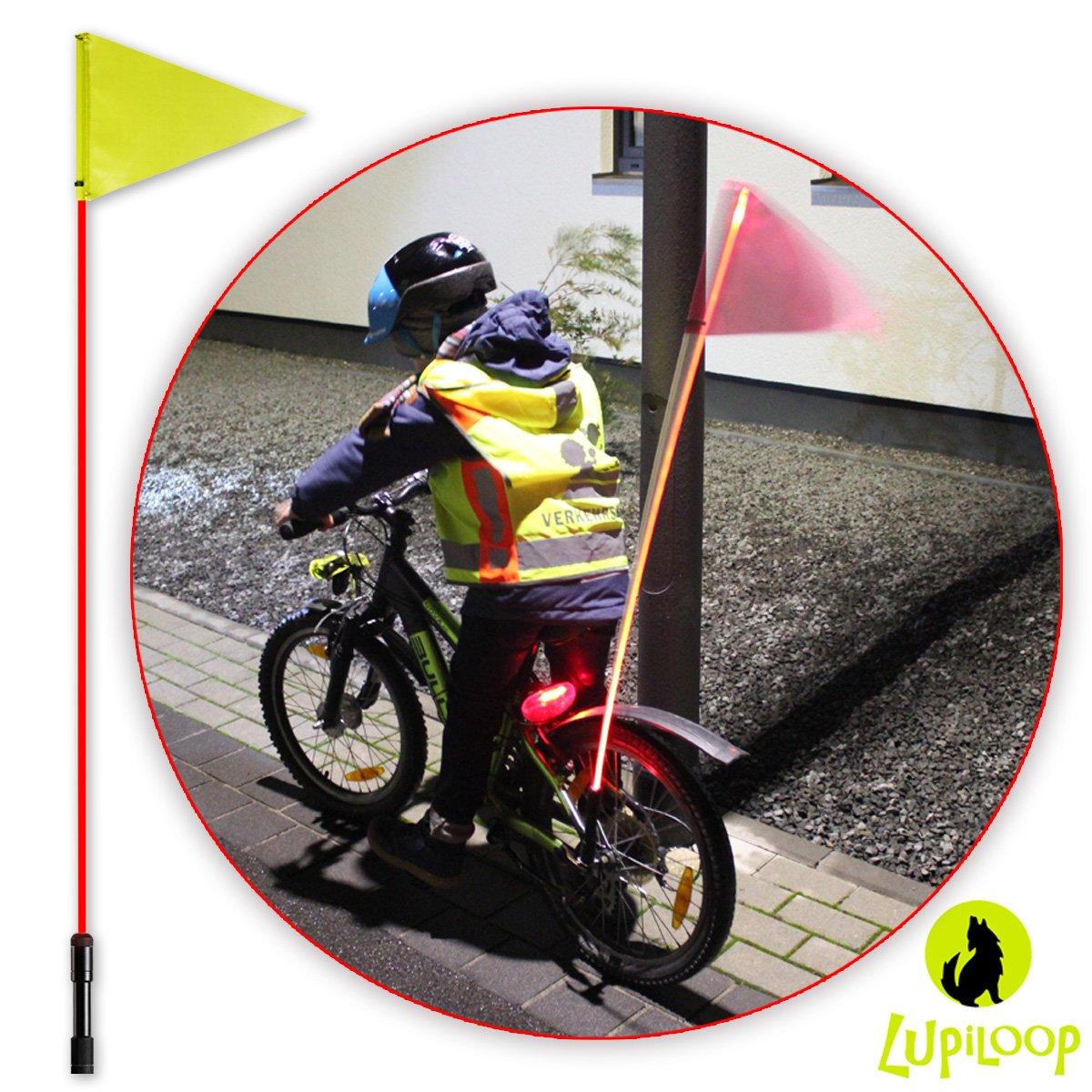 lupiloop – Intermitente rojo LED bicicleta banderín Barra ...
