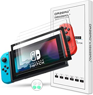 NEWZEROL 3-pack kompatibel med Nintendo Switch skärmskydd i härdat glas [med 1-pack justeringsram] [4 st silikon tumgrepp ...