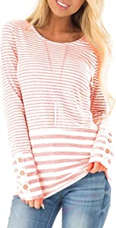 Fronage Women's Casual Striped T Shirt Long Sleeve Tunic Tops Cotton Loose Fitting Blouses