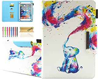 Dteck Universal Case for 9.5-10.5 Inch Tablet - PU Leather Stand Wallet Cover for Apple iPad/Samsung Tab/Kindle Fire/Lenovo/Huawei MediaPad/Asus Zenpad 9.7 10 10.1 10.5 Inch Tablet-Cute Elephant