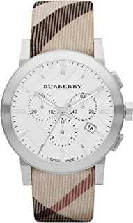 Unisex Men Women Watch The City SWISS LUXURY Round Stainless Steel Chronograph White Date Dial Nova Check Fabric (Authentic Leather Backed) Band 42mm BU9357