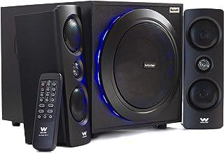 Woxter SO26-057 Big Bass 500 R - Altavoces 2.1 (150W, Bluetooth, Leds, Subwoofer de Madera, Conexión de Auriculares y Jack De 3.5mm para Conectar Dispositivos)