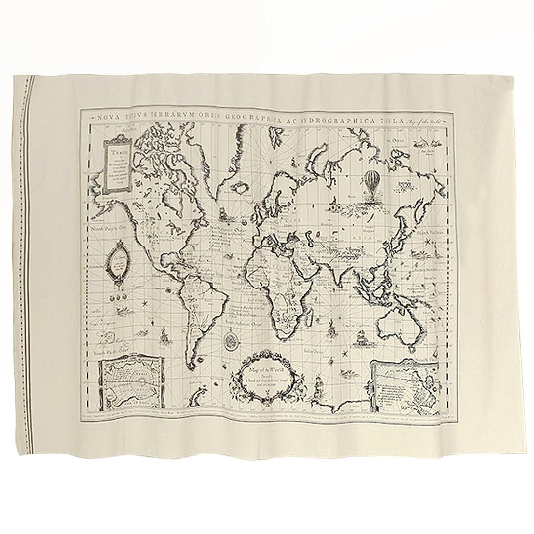 旅客趣味間欠Umora アンティーク調 世界地図 世界マップ テーブルクロス のれん 壁紙 撮影背景 アンティーク リンネル生地 縦60*横150cm