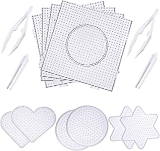 Canomo Fuse Beads Boards Clear Plastic Pegboards Fuse Beads Pegboards with 4 Pieces Tweezers for 5 mm Beads, 10 Pieces (4 Shapes)