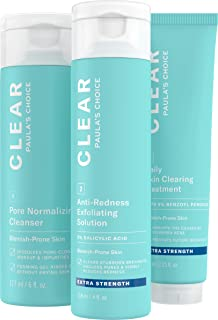 Paula's Choice CLEAR Extra Strength Acne Kit, 2% Salicylic Acid & 5% Benzoyl Peroxide for Severe Acne, Redness Relief, PACKAGING MAY VARY