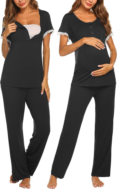 Ekouaer Women's Maternity Nursing Pajamas Set Soft Short-Sleeved Button Tops PJ Pants Sleepwear Set