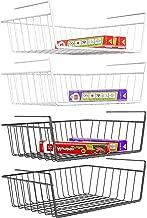 Under Shelf Basket, iSPECLE 4 Pack Wire Rack, Slides Under Shelves For Storage Fridge Cabinet Pantry, Easy to Install Black, Ivory White