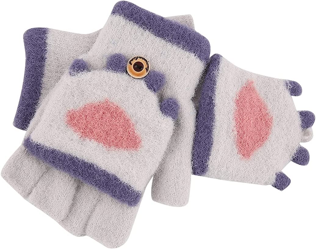 Lnrueg Kids Fingerless Gloves Breathable Knitted Half Finger Mittens Winter Mittens Warm Gloves Winter Typing Writing